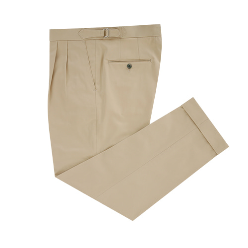 [벨리프] Gaberdine cotton fabric two tuck adjust pants (Beige_Germany fabric)
